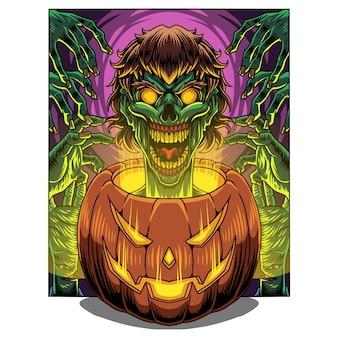 Zucca di halloween con testa di zombie