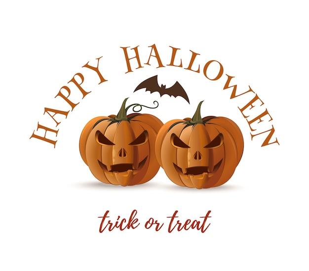 Zucche di halloween e pipistrello isolati su priorità bassa bianca. disegno di halloween. dolcetto o scherzetto