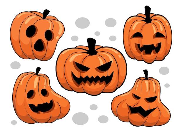 Collezione di illustrazioni di cartoni animati di zucche di halloween