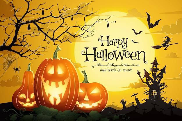 Zucche di halloween e castello spettrale nella notte di luna piena e pipistrelli che volano.