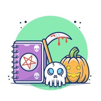 Zucche di halloween e diario morto con illustrazione vettoriale del cranio