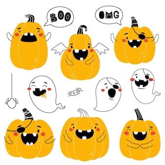 Collezione di zucche e fantasmi di halloween outline vector isola stampe divertenti zucche per bambini