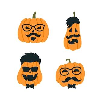 Zucche di halloween a immagine di un hipster con occhiali e baffi.