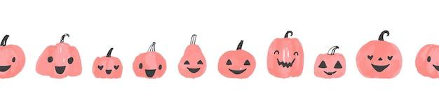 Zucche di halloween bordo vettoriale senza soluzione di continuità ripetendo sagome di zucca disegnate a mano bordo di halloween ...