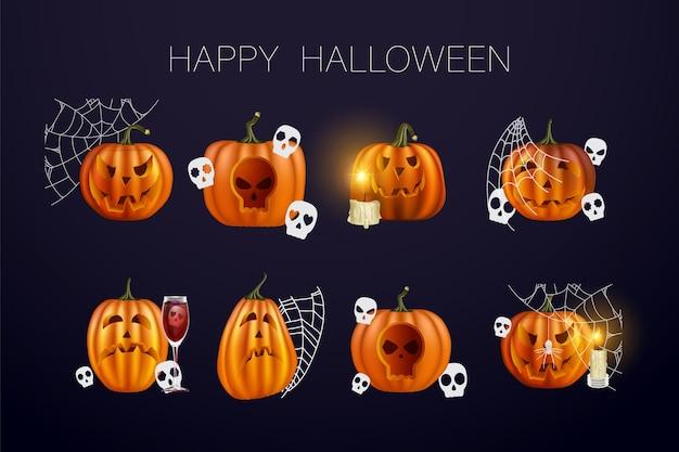 Zucche di halloween in vettoriale con set di facce diverse per icone e decorazioni su sfondo scuro. illustrazione vettoriale. rete di halloween