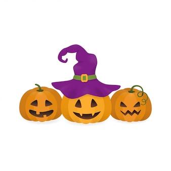Zucche di halloween e cappello da strega.