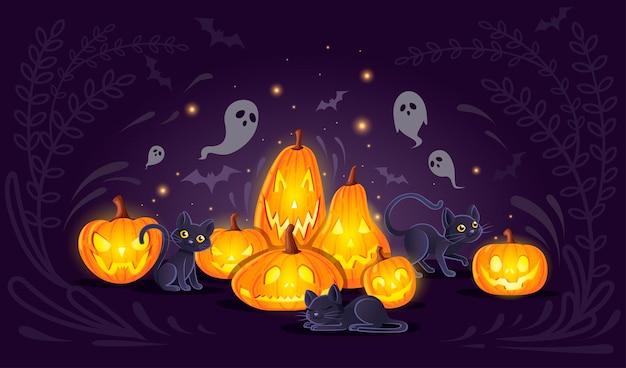 Zucche di halloween con gatti neri cartone animato disegno animale zucca spaventosa facce piatto illustrazione vettoriale su sfondo scuro con simpatici fantasmi.