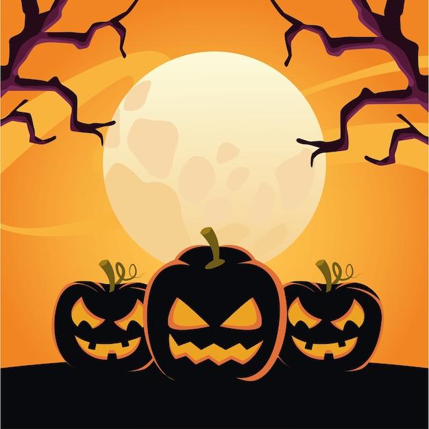Zucche di halloween con facce di scena notturna