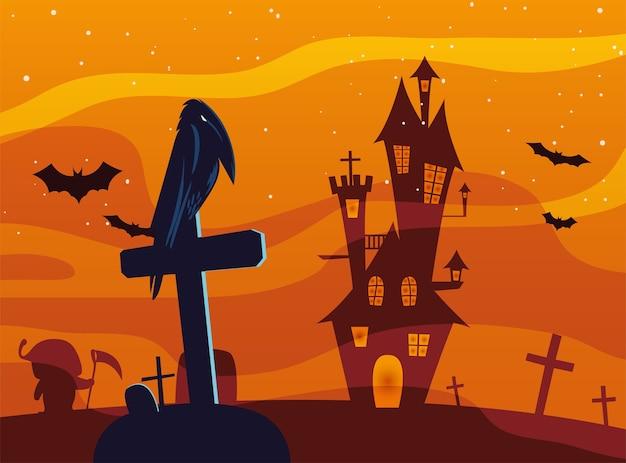 Fumetto del corvo di halloween sulla tomba davanti al design del castello, alle vacanze e al tema spaventoso