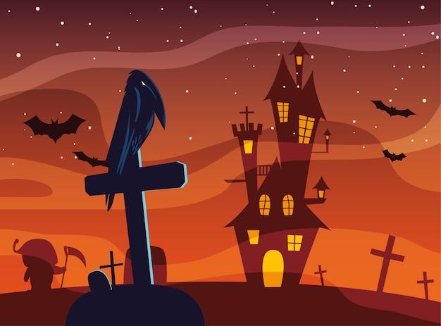 Fumetto del corvo di halloween sulla tomba davanti al disegno del castello