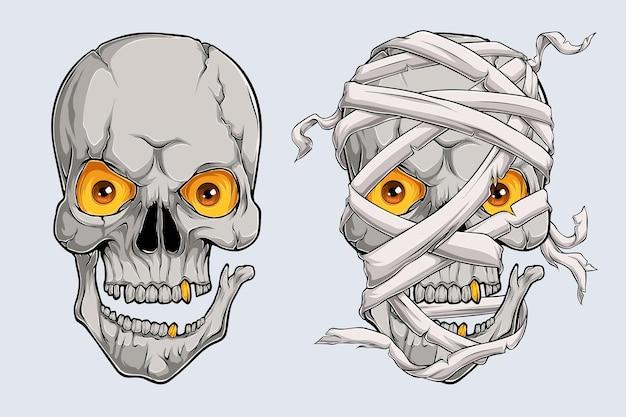 I teschi di mummia spaventosi realistici di halloween affrontano la testa di mummia egiziana