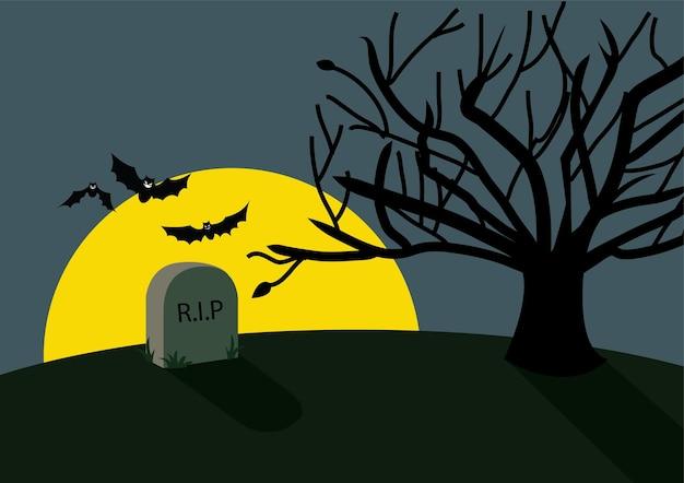 Sfondo di halloween rip con pipistrelli e luna piena
