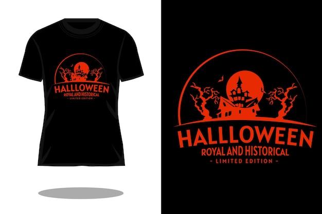 Design retrò per t-shirt con silhouette reale e storica di halloween