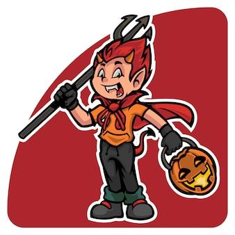 Simpatico personaggio di halloween in costume da diavolo con lanterna di zucca e bastone da diavolo