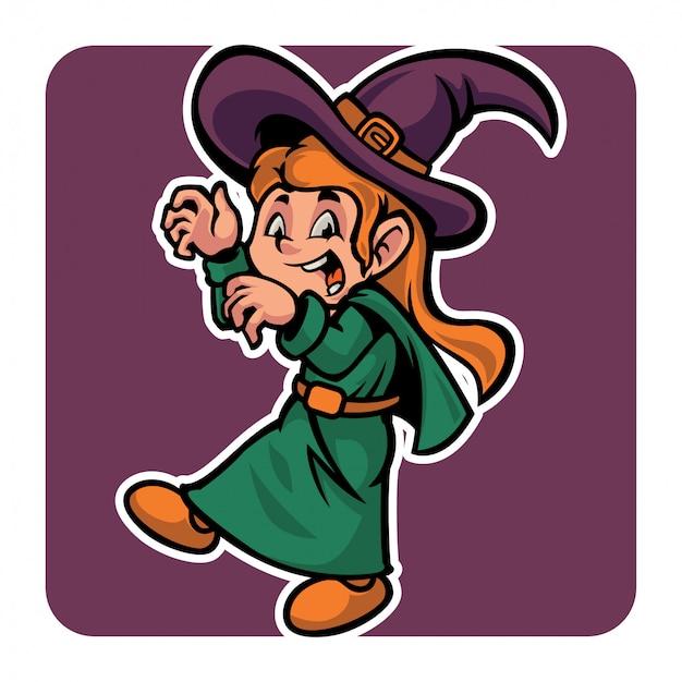 Simpatico personaggio di halloween in costume da strega