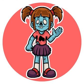 Il buffo personaggio di una ragazza zombi di halloween saluta