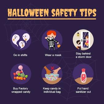 Suggerimenti per la sicurezza di halloween durante la pandemia del coronavirus. mantieni la sicurezza del modello di post sui social media. .