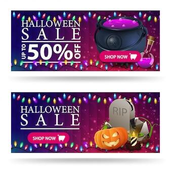 Banner di vendita di halloween, sconto orizzontale viola con calderone della strega e lapide