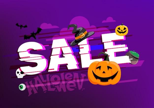 Bandiera di vendita di halloween concetto di offerta di stagione