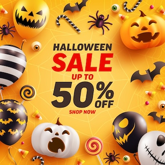 Modello di banner di vendita di halloween con zucca di halloween carino e palloncini fantasma.