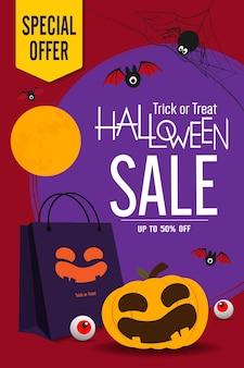 Halloween vendita banner disegno vettoriale zucche di halloween e shopping bag su sfondo scuro per salutare