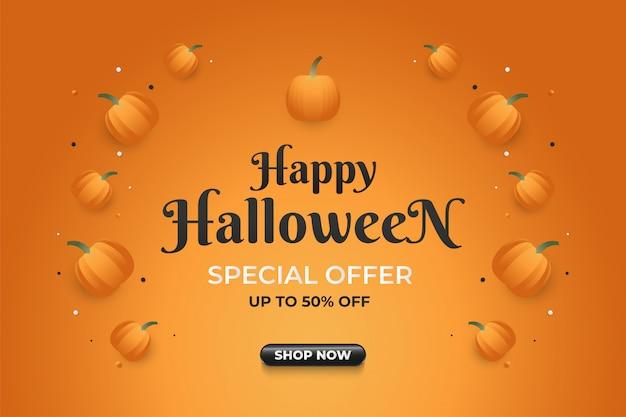 Banner di vendita di halloween con zucca su sfondo arancione