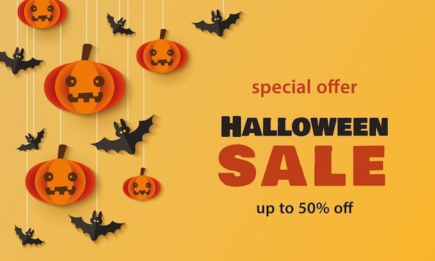 Modello dell'insegna di promozione di festa di vendita di halloween con le zucche del fumetto