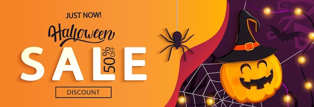 Banner orizzontale di vendita di halloween con zucca stregata che invita allo shopping con grandi sconti. modello per web, poster, volantini, annunci, promozioni, blog, social media, marketing. illustrazione vettoriale.