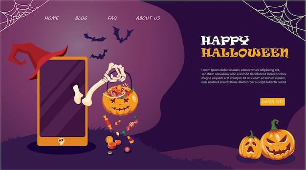 Manifesto di promozione di vendita di halloween con zucche e telefono su sfondo viola