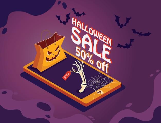 Manifesto di promozione di vendita di halloween con zucche e telefono su sfondo viola.