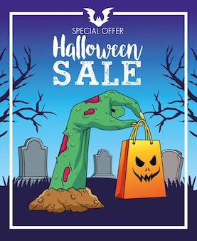 Manifesto stagionale di vendita di halloween con la borsa della spesa di sollevamento della mano di morte nel cimitero