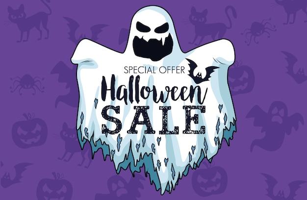 Manifesto stagionale di vendita di halloween con scritte in fantasma