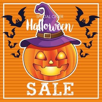 Manifesto stagionale di vendita di halloween con la zucca che porta il cappello della strega