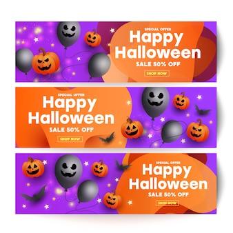 Insegna del modello di vendita di halloween con zucche spaventose viso, pipistrelli e palloncini spettrali Vettore Premium