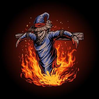Il vettore dell'illustrazione dello spaventapasseri di halloween