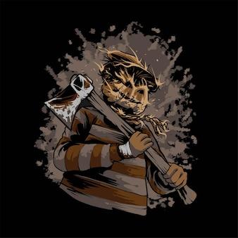 Illustrazione di halloween spaventapasseri killer, adatta per t-shirt, abbigliamento, stampa e prodotti di merchandising