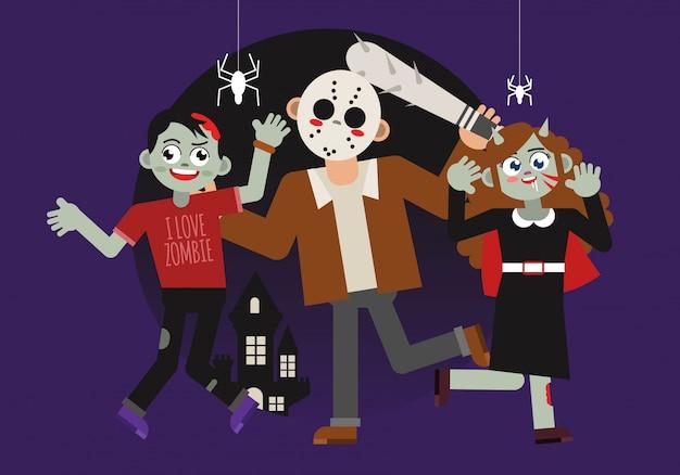 Personaggio spaventoso di halloween costum