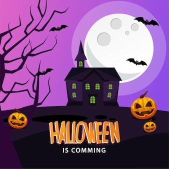 Zucca spaventosa di halloween con tema notturno e castello spaventoso