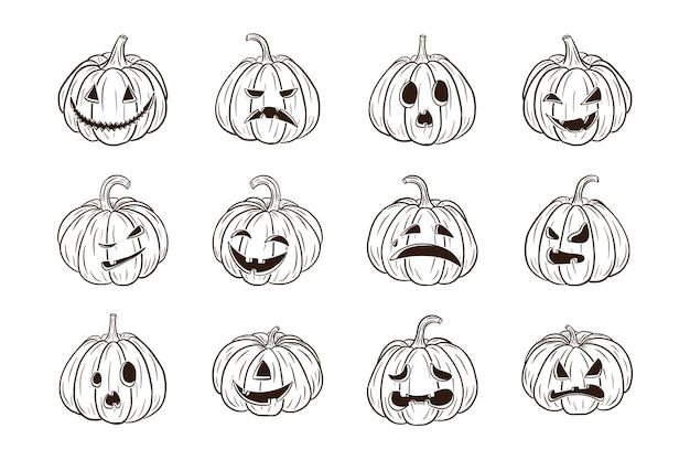 Zucche spaventose di halloween con raccolta di volti. set di illustrazioni di lanterne di zucca jack per biglietti di auguri per le vacanze autunnali, inviti, design di pacchetti, decorazioni. vettore premium