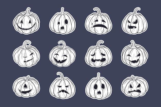 Zucche spaventose di halloween con set di adesivi di facce. raccolta di illustrazioni di lanterne di zucca jack per biglietti di auguri per le vacanze autunnali, inviti, design di pacchetti, decorazioni. vettore premium