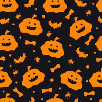 Modello senza cuciture di halloween sfondo nero con zucche pipistrelli ragni sfondo di halloween