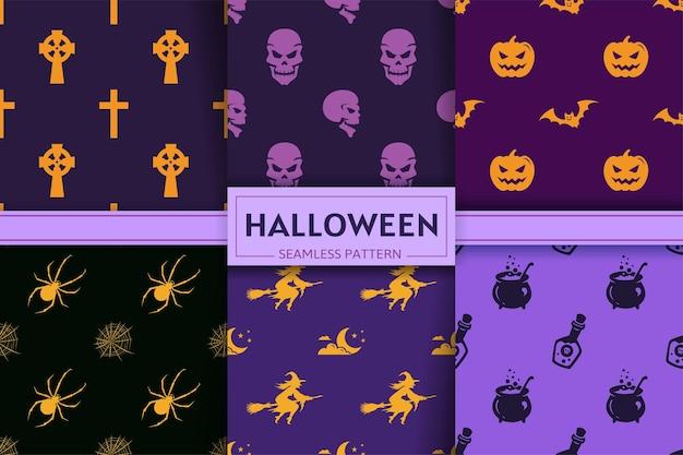 Collezione di modelli senza cuciture di halloween con sagome di strega, zucca, pipistrello, teschio, croce, ragno