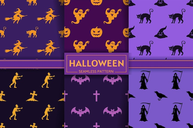 Collezione di modelli senza cuciture di halloween con sagome di streghe, zucca, gatto, teschio, tomba, zombi