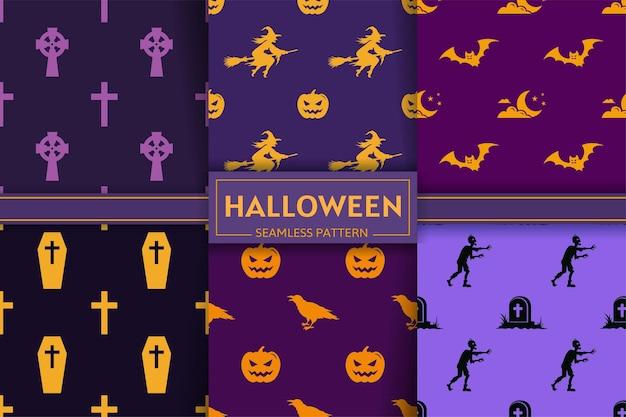 Collezione di modelli senza cuciture di halloween con sagome di streghe, zucca, croce, pipistrello, zombi, corvo