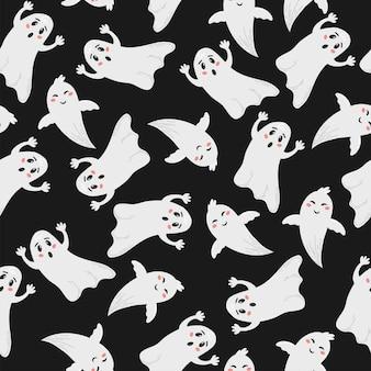 Reticolo senza giunte di halloween. illustrazione vettoriale disegnata a mano con fantasmi