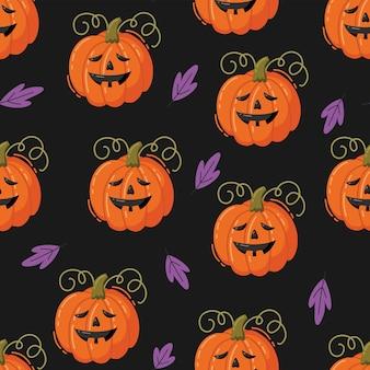 Reticolo senza giunte di halloween. illustrazione vettoriale disegnata a mano con zucche
