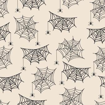 Reticolo senza giunte di halloween. illustrazione vettoriale disegnata a mano con ragnatela e ragno