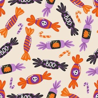 Reticolo senza giunte di halloween. illustrazione vettoriale disegnata a mano con dolci