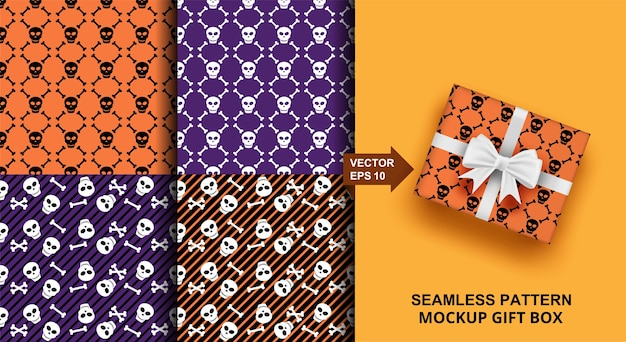 Insieme del reticolo senza giunte di halloween. design teschio per moda, abbigliamento, tessuto, carta da regalo.