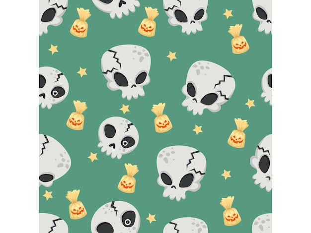 Teschi di halloween senza cuciture. personaggi dei cartoni animati illustrazione di halloween. modello vettoriale per sfondo di carta vettoriale